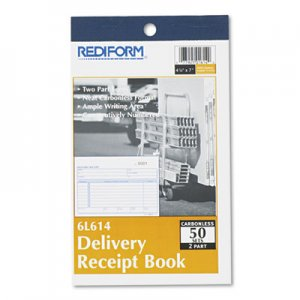 Rediform RED6L614 Delivery Receipt Book, 6 3/8 x 4 1/4, Two-Part Carbonless, 50 Sets/Book