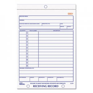 Rediform RED2L259 Receiving Record Book, 5 9/16 x 7 15/16, Two-Part Carbonless, 50 Sets/Book