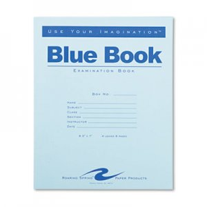 Roaring Spring 77510 Exam Blue Book, Wide Rule, 8-1/2 x 7, White, 4 Sheets/8 Pages ROA77510