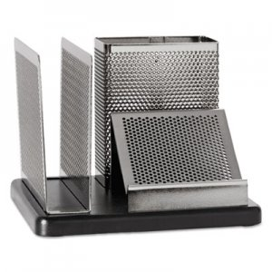 Rolodex ROLE23552 Distinctions Desk Organizer, 5 7/8 x 5 7/8 x 4 1/2, Metal/Black