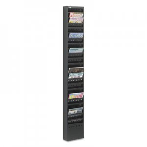 Safco 4322BL Steel Magazine Rack, 23 Compartments, 10w x 4d x 65-1/2h, Black SAF4322BL