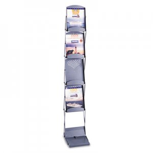 Safco 4132GR Portable Folding Literature Display, 10w x 13-1/4d x 56h, Metallic Gray SAF4132GR