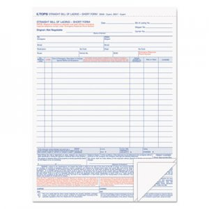 TOPS TOP3846 Bill of Lading,16-Line, 8-1/2 x 11, Three-Part Carbonless, 50 Forms