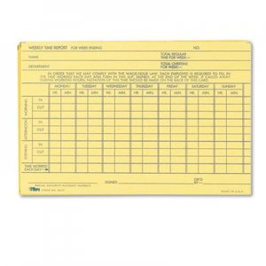 TOPS TOP3017 Employee Time Report Card, Weekly, 6 x 4, 100/Pack