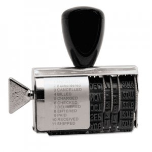Identity Group USST2754 Rubber 11-Message Dial-A-Phrase Stamp, Dater, Conventional, 2 x 3/8
