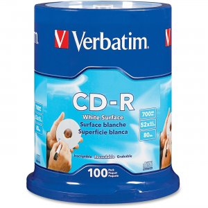 Verbatim 94712 CD-R 80MIN 700MB 52x Blank White Surface 100pk Spindle VER94712