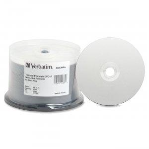 Verbatim 94889 DVD+R 4.7GB 8x DataLifePlus White Thermal Hub Printable 50pk Spindle VER94889