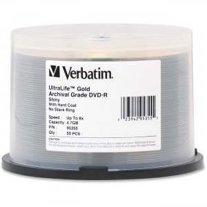 Verbatim 95355 UltraLife Gold Archival Grade DVD-R 4.7GB 8x 50pk Spindle VER95355