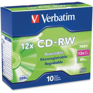 Verbatim 95156 CD-RW 80MIN 700MB 4x-12x High Speed 10pk Slim Case VER95156