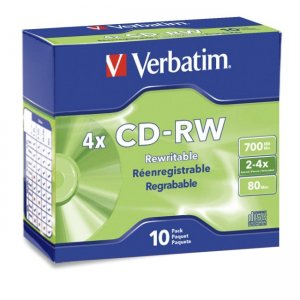 Verbatim 95170 CD-RW 80MIN 700MB 2x-4x 10pk Slim Case