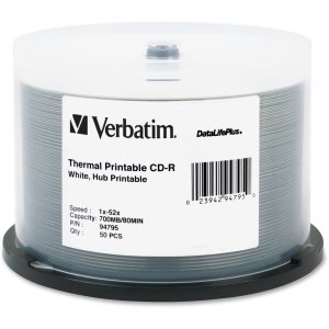 Verbatim 94795 CD-R 80MIN 700MB 52x DataLifePlus White Thermal Printable, Hub Printable 50pk Spindle VER94795