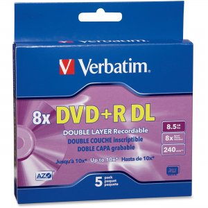 Verbatim 95311 Double Layer DVD+R DL 8.5GB 8x 5pk Slim Case VER95311