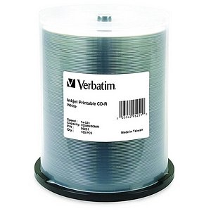 Verbatim 95251 CD-R 80MIN 700MB 52x White Inkjet Printable 100pk Spindle