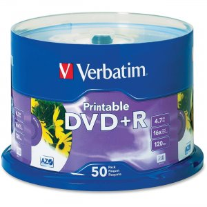 Verbatim 95136 DVD+R 4.7GB 16x White Inkjet Printable 50pk Spindle VER95136