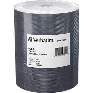 Verbatim 97015 DVD-R 4.7GB 16x DataLifePlus White Thermal Hub Printable 100pk Wrap VER97015