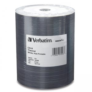Verbatim 97018 CD-R 80MIN 700MB 52x DataLifePlus White Thermal Hub Printable 100pk Tape Wrap