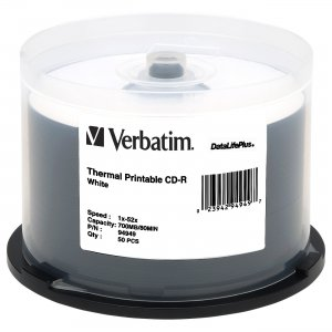 Verbatim 94949 CD-R 80MIN 700MB 52x DataLifePlus White Thermal Printable 50pk Spindle VER94949