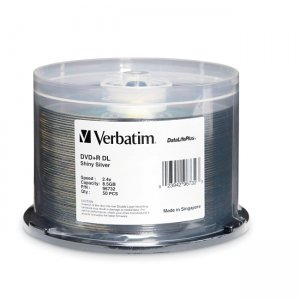 Verbatim 96732 Double Layer DVD+R DL 8.5GB 2.4x DataLifePlus Shiny Silver 50pk Spindle