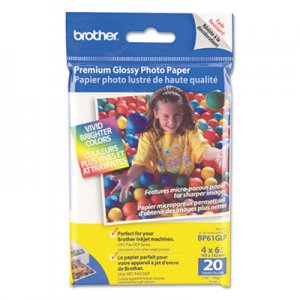 Brother BP61GLP Innobella Premium Glossy Photo Paper, 51 lbs., 4 x 6, 20/Pack BRTBP61GLP