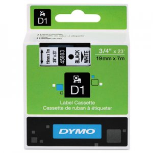 DYMO 45803 D1 Standard Tape Cartridge for Dymo Label Makers, 3/4in x 23ft, Black on White DYM45803