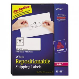 Avery 55163 Re-hesive Laser Labels, 2 x 4, White, 1000/Pack AVE55163